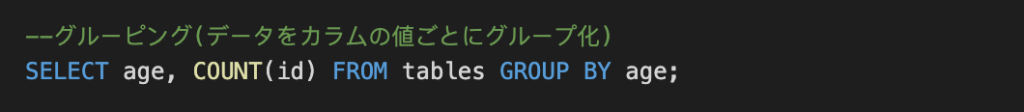 GROUP BYでグループ分け