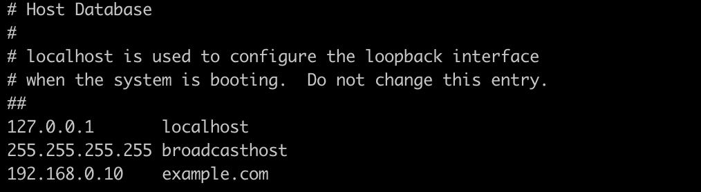 vimでhostsファイルを開いて編集する