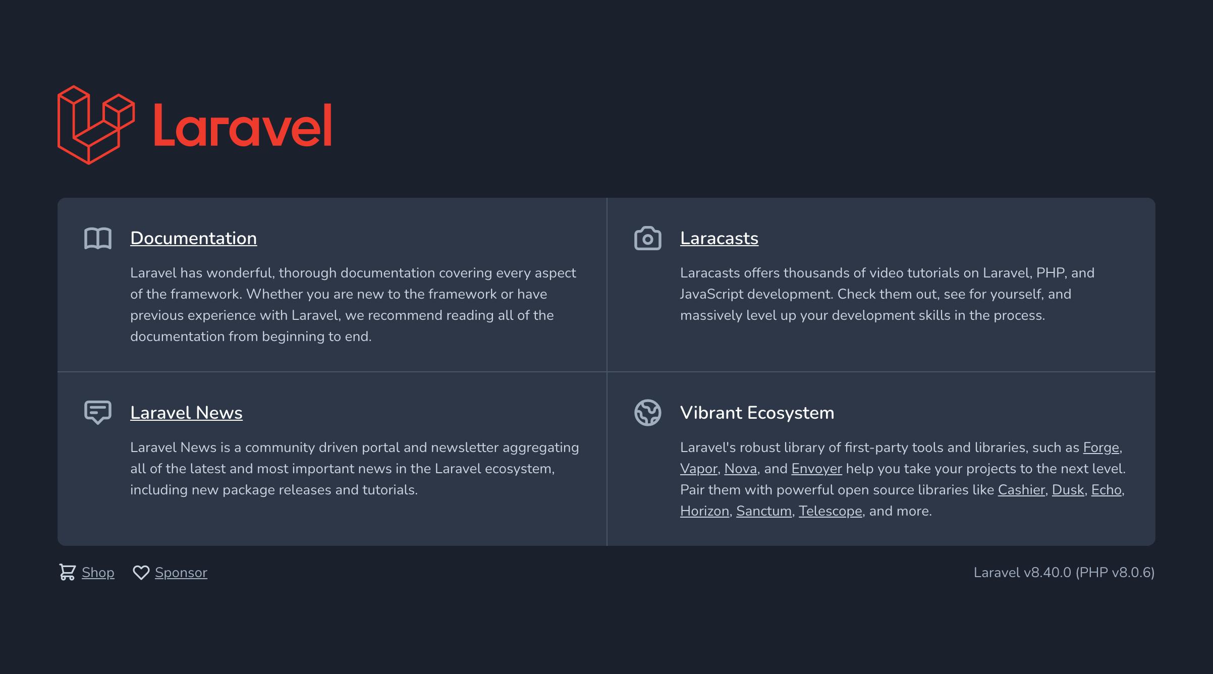 Laravel8のデフォルト画面