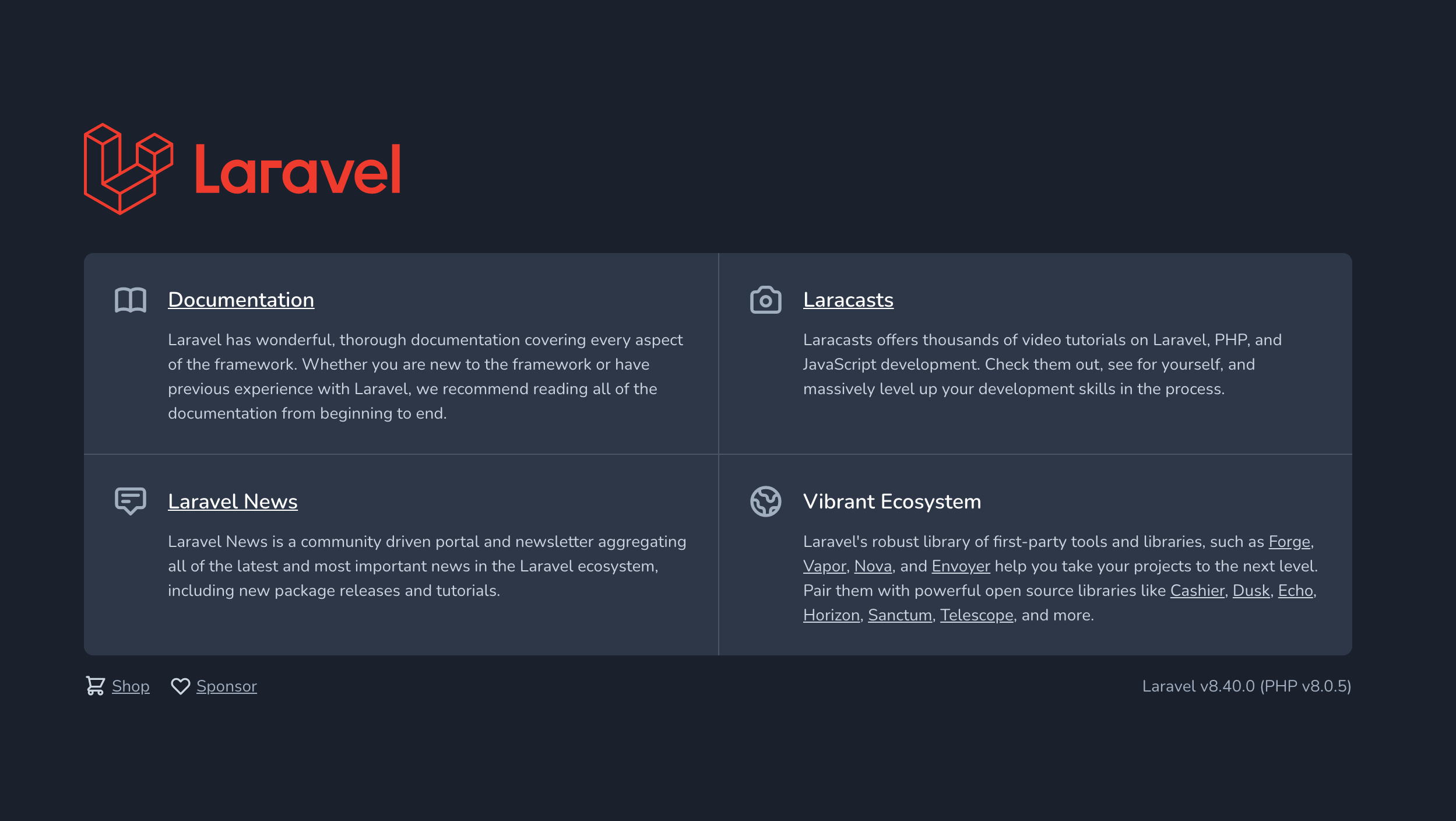 Laravelのデフォルト画面を表示